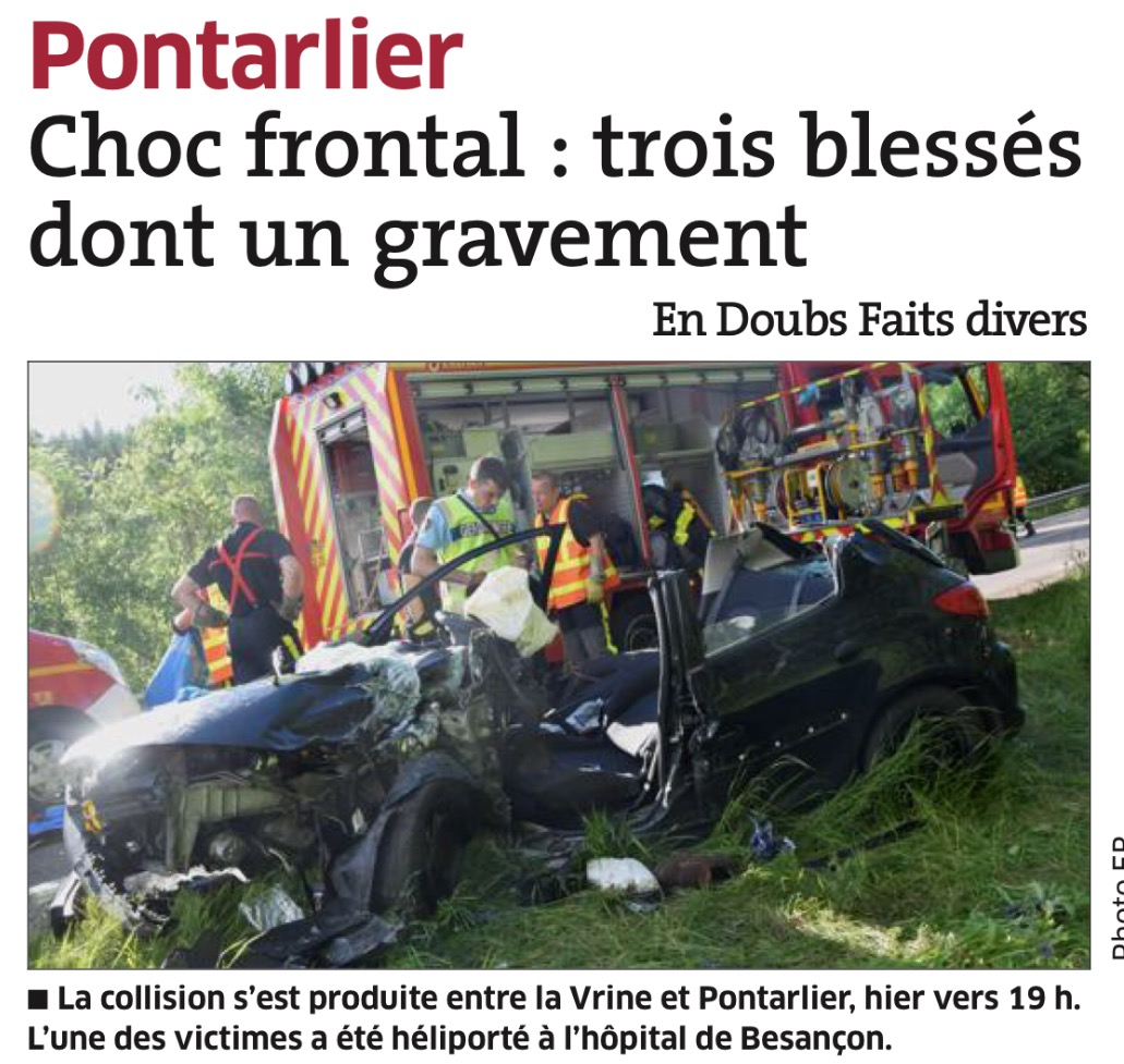 victimes accident car doubs